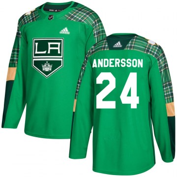 Adidas Los Angeles Kings Men's Lias Andersson Authentic Green St. Patrick's Day Practice NHL Jersey