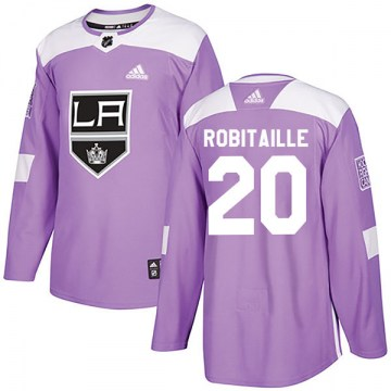 Adidas Los Angeles Kings Youth Luc Robitaille Authentic Purple Fights Cancer Practice NHL Jersey