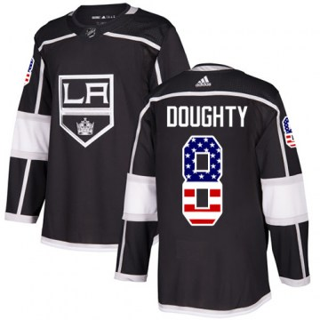 Adidas Los Angeles Kings Men's Drew Doughty Authentic Black USA Flag Fashion NHL Jersey